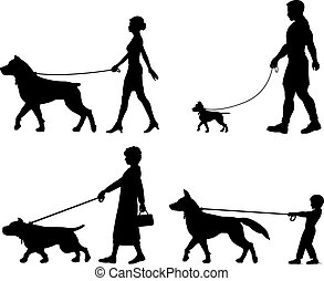 Editable vector silhouettes of contrasting dogs and owners