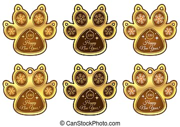 Dog Paw 2018 of New Year. Set of Stickers