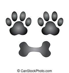 dog paw and bone vector