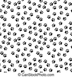 Dog paw print vector seamless pattern or background