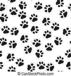 Dog Paw seamless pattern vector footprint kitten puppy tile background repeat wallpaper cartoon isolated illustration white - Vector illustration
