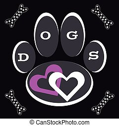 Dog paw with hearts on black background