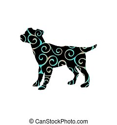 Dog pup pet color silhouette animal