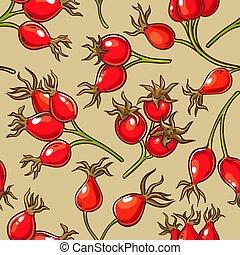 dog rose berries vector pattern