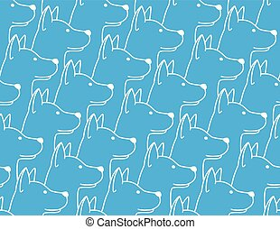 Dog Seamless Pattern pet puppy isolated illustration repeat wallpaper tile background blue