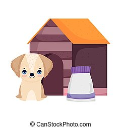 dog sitting in house with food package pets