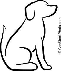 Dog sitting silhouette white