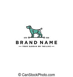 dog tech logo design vector
