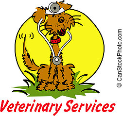 """Cartoon dog dressed as a Veterinarian with sign reading """"Veterinary Services"""""""