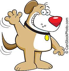 Dog waving