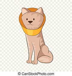 Dog wearing funnel cone collar icon. Cartoon illustration of dog wearing funnel cone colla vector icon for web