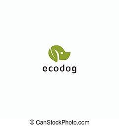 Dog with ear leaf nature pet Logo Icon Design Template Vector Illustration.