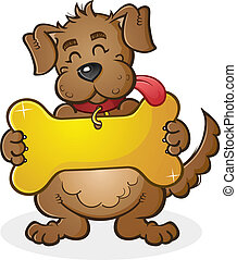 A cheerful dog cartoon character holding a giant golden bone shaped dog tag connected to his collar.