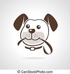 Dog head with leash icon vector illustration