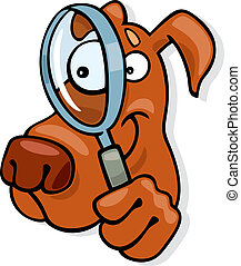 Illustration of dog with magnifying glass