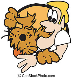 Dog With Man Clip Art Graphic