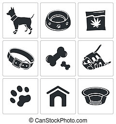 Doggy icons set on a white background