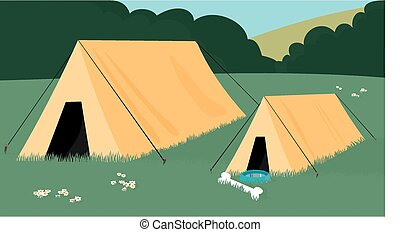 A pet dogs tent sits next to his masters.