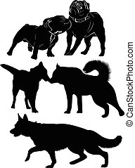 dogs. Dogs black silhouette isolated.