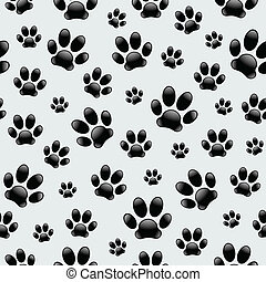 Vector seamless pattern composed of dog's footprints.