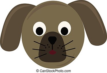 Dogs head, illustration, vector on white background.