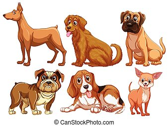 Illustration of different type of dogs