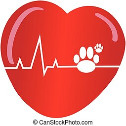 Dogs paw with heart on white background