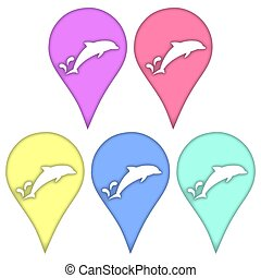 Dolphin in the technique of paper cut out.