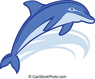 An icon of a blue dolphin leaping with a wave