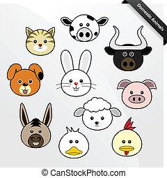 A set of cute domestic animal faces cartoon.