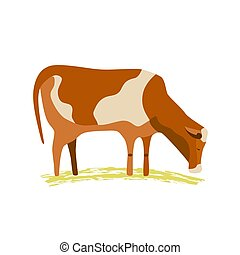 Domestic Animal icon. Dairy cattle sign. Hand drawn cartoon minimalism simple flat style. Milk cow with spots. Mammals for poster background. Farming cows with udder, horns, hoofs vector illustration