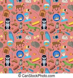 Domestic pets background. Pattern.