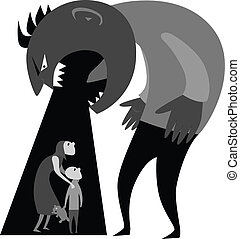Monster man yells at terrified woman and child, gray scale vector ilustration