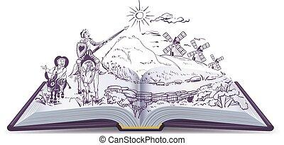 Don Quixote open book vector cartoon illustration