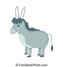 donkey farm domestic animal cartoon vector illustration