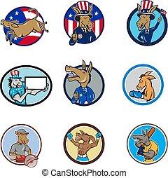 donkey-mascot-CIRC-CARTOON-SET