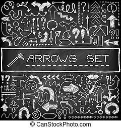 Doodle arrow icons set