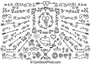 Doodle, arrows, decor element. Love set