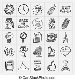 doodle back to school icon set