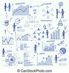 Set of doodle business charts infographics elements isolated vector illustration