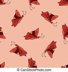 Doodle butterflies seamless pattern