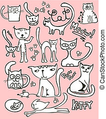 Collection of cute, hand-drawn, doodle style cats.
