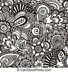 Doodle monochrome print. Seamless floral background. EPS 8 vector illustration.