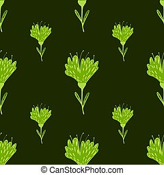 Doodle seamless pattern with green bright flower abstract print. Olive dark background.