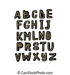 Doodle simple primitive kids alphabet, vector hand drawn