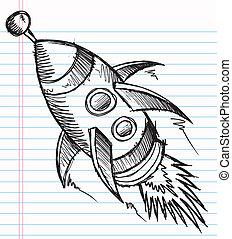 Doodle Sketch Rocket Vector