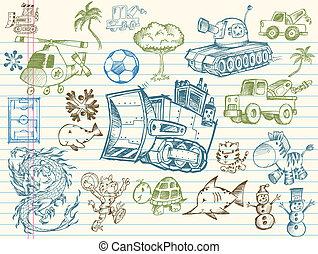 Doodle Sketch Vector Elements collection Set