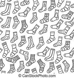 Doodle socks seamless pattern hand drawn fabric background.