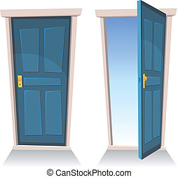 Illustration of a set of cartoon front doors opened and closed with sky background, symbolizing death frontier, paradise or heaven's gate