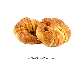 dos croissant aislado sobre fondo blanco